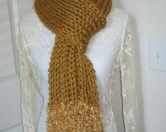 Chunky Knit Scarf, Hand Knit Scarf, Ribbed Scarf, Gold Scarf, Boucle Scarf, Ribbed Knit Scarf, Chunky Ribbed Scarf, Gifts for Her
