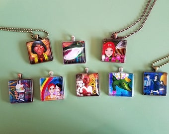 Free Shipping in US on 30 mm Print of My Artwork Necklace