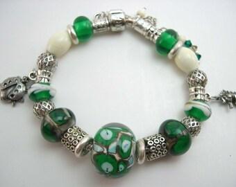 Lampwork bracelet, Matching Earrings,Glass Lampwork Bead,  Lampwork Jewelry , Green Glass Bracelet,  Ivory lampwork  bracelet