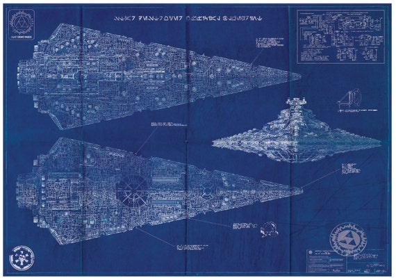 Imperial Star Destroyer Wars Poster Blueprint A2