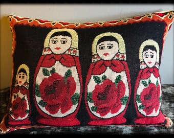 Russian Doll Vintage Tapestry Cushion