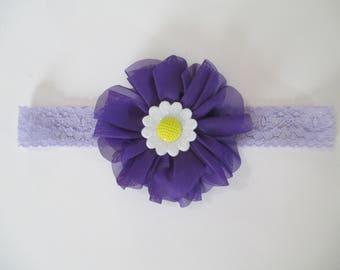 INFANT HEADBAND/  TODDLER Headband/  Stretch Headband/ Flower Headband/ Violet Flower Headband/ Lavender Lace Headband/ Purple Headband/Gift