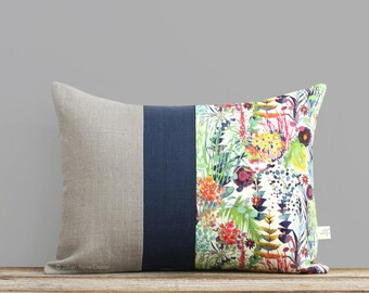 LIMITED EDITION: Abstract Floral Liberty Print Pillow Cover by JillianReneDecor, Watercolor Flowers, Decorative Home Decor, Tresco Tana Lawn