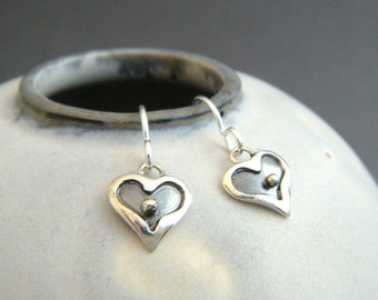 """small heart earrings. tiny sterling silver dangles. oxidized black. two toned. everyday jewelry. simple drops. gift for her women 3/8"""""""