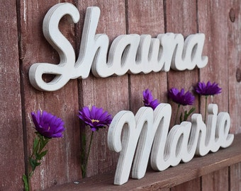 Wooden Name Sign - First and Middle Name - Nursery, Baby Name, Children's Name, Home Decor