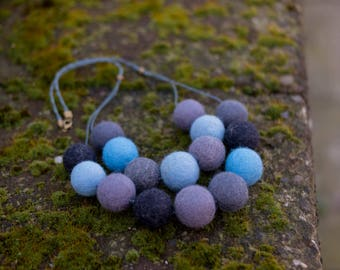 Birthday Gift for sister Felted Jewelry needle felted necklace blue Wool Statement Necklace colorful beads beaded necklace felt necklace