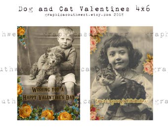 Instant download high resolution digital download Cat and Dog Valentine Postcards 4x6
