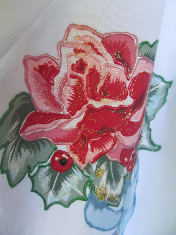 Chic Rose Fleece Flower White Jacket Woman L