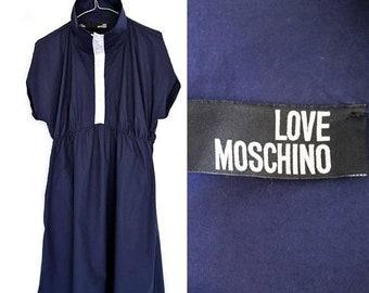 SALE LOVE Moschino Vintage Dress,Designer Italian Summer Navy Blue Dress ,Nautical Dress size 8,1980s Day Dress