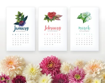 12 Month 2018 Printable Calendar - Flower Feather Arrow Desk Calendar - Home Organizing Wall Calendar - 2018 Instant Download Calendar