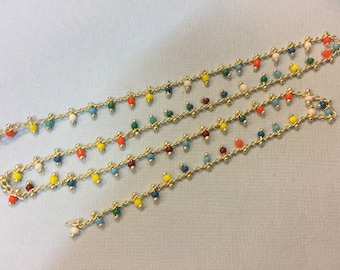 Gold chain with seed beads 2mm for jewelry designs