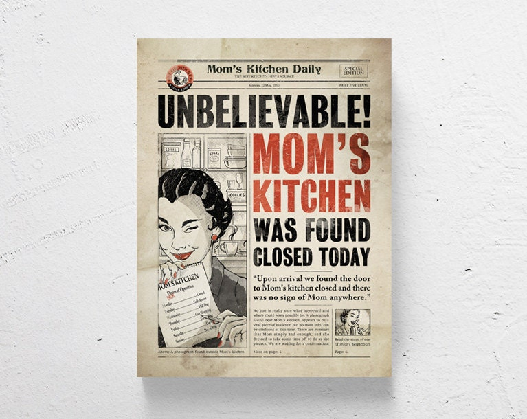 ?zoom  sc 1 st  Etsy & Retro kitchen art / kitchen wall art funny print mothers day