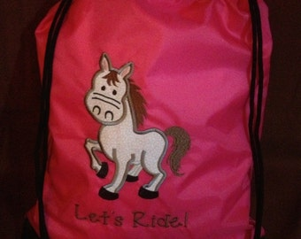 Let's Ride Pony String Backpack
