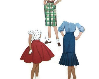 Simplicity 2817 Vintage Sewing Pattern Girl's Teen Circle Wiggle Fishtail Skirt Waist 23