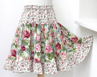 Roses Floral Girls Skirt, Full & Twirly! Green Ruffle Twirl Skirt 2t 3t 4t 5 6 7 8 Size 10 12 14 Tween Girl Clothes Kid Gift Childs Clothing
