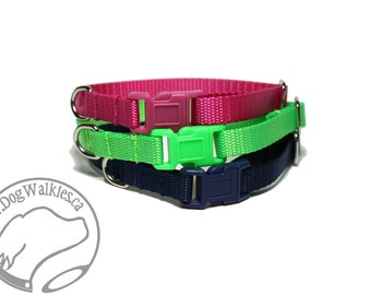 """Extra Small Dog Collar Side Release / Teacup / Mix & Match / 3/8"""" (9mm) / Red, Yellow, Blue, Black, White, Green, Pink, Orange, Purple"""