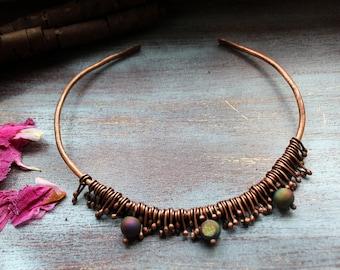 Choker, Chunky wire necklace, Copper, Torque necklace, Copper wire necklace, Druzy necklace, Statement bib necklace, Copper jewelry, Womens