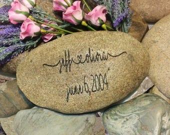 Newlywed Gift - Garden Decor Rock - Housewarming Gift - Engraved Heart - Love Garden Stone - Garden Art - God Rocks - First Home Gift