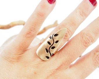 """Ring Leaf """"Vigne"""" / Bronze clay / Art Clay / Handsculpted Jewelry / Metal Clay / Nature chic"""