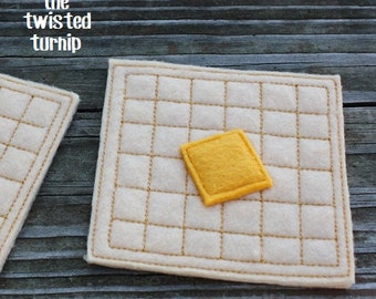 Kid's Felt Food Breakfast Waffles & Butter Machine Embroidery Design Set Instant Download 5x7 Hoop Play Food