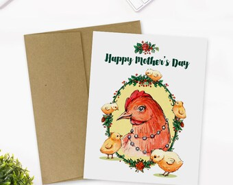 Mother's Day Card, Mom Hen with Baby Chicks, Vintage Style Mother's Day Card