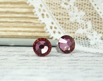 Pink Crystal Studs Gift Under 5 Clearance Jewelry Pink Stud Earrings Clearance Earrings Surgical Steel Studs