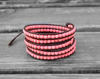 Pink Leather Bracelet Beaded Bracelet Leather Wrap Bracelet 4mm Beaded Bracelet Bridesmaid Bracelet Girlfriend Gift