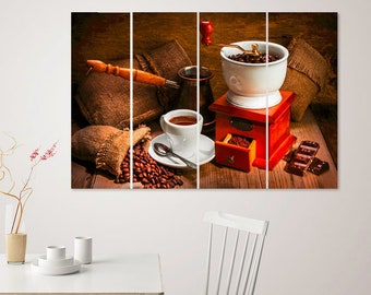 Coffee Beans Canvas Print Coffee Wall Decor Antique Large Coffee Print Kitchen Wall Art Vintage Coffee Poster Restaurant Decor Cafe Wall Art