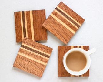 Simple Wooden Coasters - Square Coasters - Striped Coasters - Drink Coasters - Coffee Coasters - Set of 4