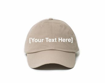 Custom Dad Hat, Custom Baseball Caps, Dad Hat Custom, Embroidered Baseball Cap, Adjustable Strap Back Baseball Cap, Low Profile, Khaki