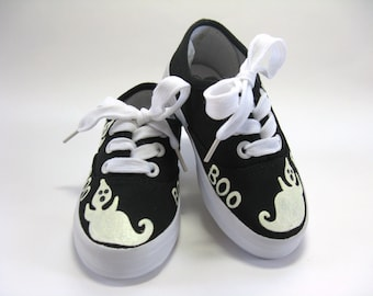 Boys Halloween Ghost Shoes, Hand Painted Black Sneakers for Baby and Toddler, Halloween Party Outfit or Ghost Costume