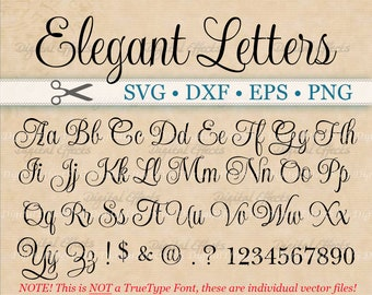 ELEGANT Script Font Monogram Svg, Dxf, Eps, Png;  Digital Monogram DIY, Fancy Script, Cursive Font, Silhouette Files, Cricut, Cut Files