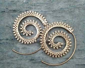 Spiral earring round hoop Gypsy jewelry Hippie accessory Small Gold Indian style Tribal Ethnic