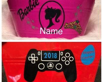 Customized / Personalized easter basket tub, Toy storage bin
