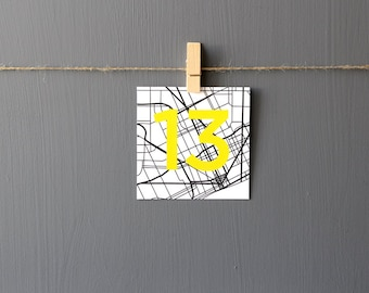 Detroit Modern Map Table Numbers Wedding Party