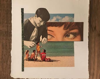Original Abstract Paper Collage from Vintage Magazines