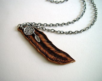 Leather Feather Necklace - Hand Burned