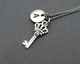 Crown key necklace etsy crown key necklace crown key pendant antique key initial necklace initial hand stamped personalized antique silver monogram aloadofball Images