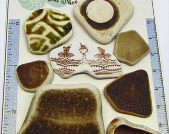 8  Brown/ Terracotta/Earthenware/Stoneware Sea Worn Vintage Scottish Sea Pottery Shards from Prestonpans, for jewellery/arts /crafts.