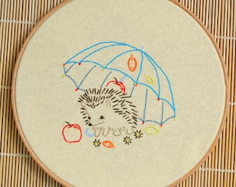 DIY gift, Hedgehog hand embroidery patterns, Digital Download PDF, embroidery pattern beginner by NaiveNeedle