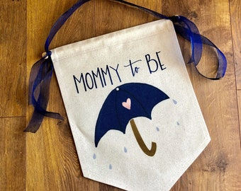 Baby Shower Mommy To Be Chair Sign Canvas Banner, Baby Shower Decorations, Gender Reveal Party