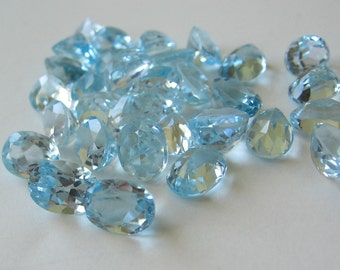 Blue Topaz faceted gemstone, one stone 8x6