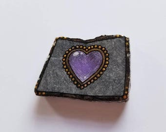 Amethyst Heart 3 Love Token / Hand Painted Stone / Hand Painted Rock / Heart Stone Art / Heart Rock Art / Love Stone Art / Love Rock Art