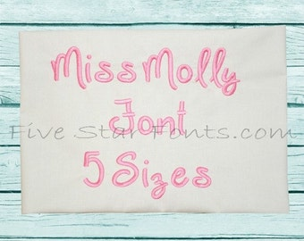 Miss Molly Embroidery Font 5 Sizes  Alphabet Machine Embroidery Designs