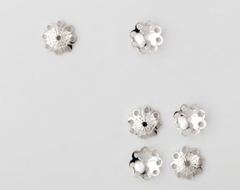 20pcs Sterling Silver Bead Caps 6mm - Silver Bead Caps flower filigree made in Italy - jewelry findings silver flower bead caps