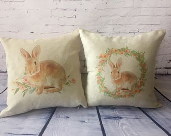 Easter Bunny rabbit Decorative throw pillow cover, watercolor bunny, spring pillow