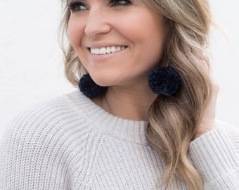 NAVY Pom Pom Earrings