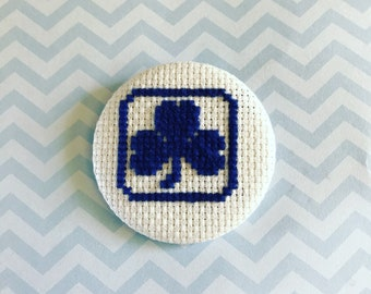 """2.25"""" pinback cross stitch button - girl guides of canada trefoil"""