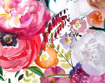 Bloom -  Watercolor Painting - Abstract Floral - Pink - Peony - Illustration - 11x11 Giclee Print - Home Decor