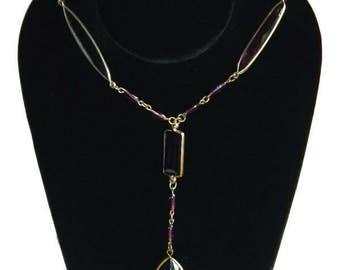 Vintage 1920s Purple Beaded Flapper Necklace
